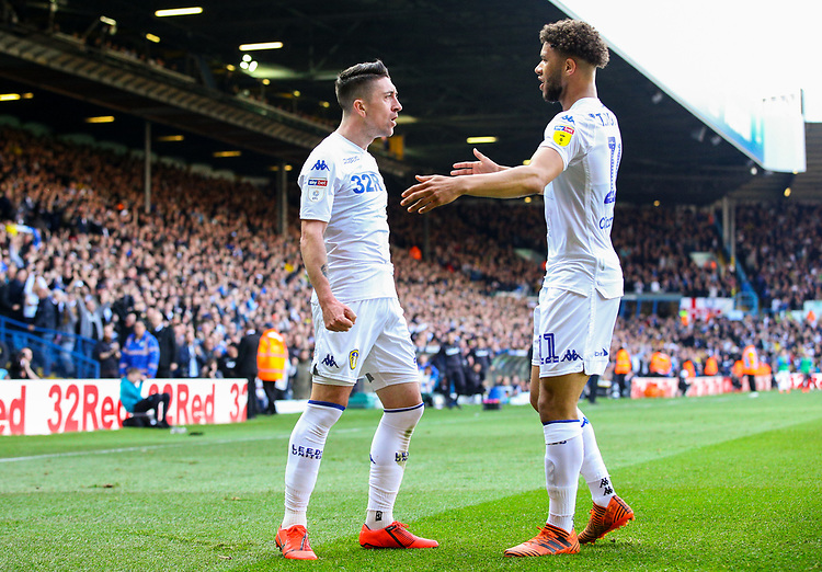Leeds United's Pablo Hernandez celebrates scoring his side's first goal with Tyler Roberts<br /> <br /> Photographer Alex Dodd/CameraSport<br /> <br /> The EFL Sky Bet Championship - Leeds United v Millwall - Saturday 30th March 2019 - Elland Road - Leeds<br /> <br /> World Copyright © 2019 CameraSport. All rights reserved. 43 Linden Ave. Countesthorpe. Leicester. England. LE8 5PG - Tel: +44 (0) 116 277 4147 - admin@camerasport.com - www.camerasport.com