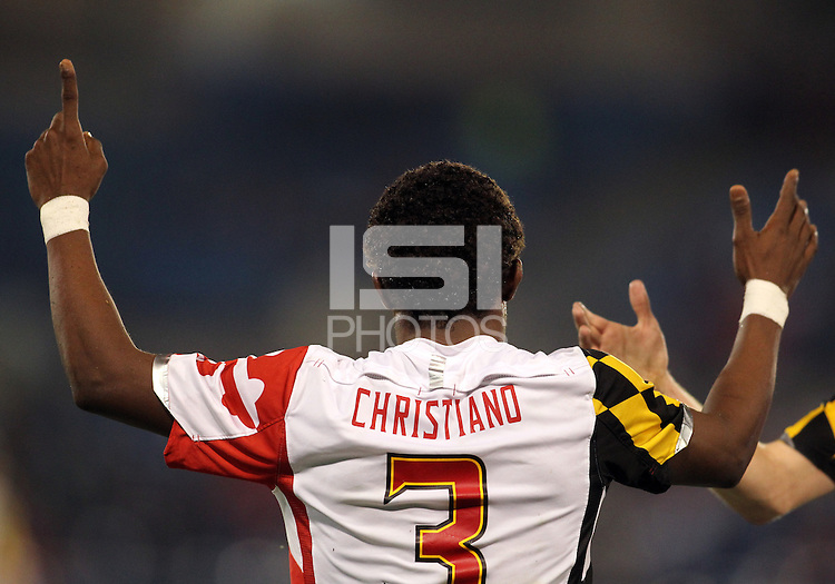 HOOVER, AL - DECEMBER 07, 2012:  Christiano Francois (3) of the University of Maryland after scoring the fourth goal against Georgetown University during an NCAA 2012 Men's College Cup semi-final match, at Regents Park, in Hoover , AL, on Friday, December 07, 2012. The game ended in a 4-4 tie, after overtime Georgetown won on penalty kicks.