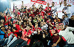 Players of Hebron's Ahly al-Khalil football club celebrate with the trophy after beating Hebron's Shabab al-Khalil club during Super Cup soccer match, in the West Bank city of Hebron, on Sep. 09, 2016. Photo by Wisam Hashlamoun