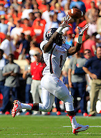 Richmond running back Jacobi Green (1) makes a catch during the game Saturday Sept. 6, 2014 at Scott Stadium in Charlottesville, VA. Virginia defeated Richmond 45-13. Photo/Andrew Shurtleff