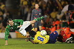 29 May 2008: Aiden McGeady (IRL) (7) tumbles over Fredy Guarin (COL) (8). The Republic of Ireland Men's National Team defeated the Colombia Men's National Team 1-0 at Craven Cottage in London, England in an international friendly soccer match.