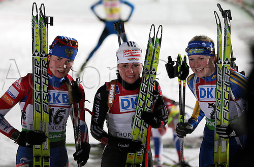 09.01.2011 IBU World Cup Biathlon from Oberhof Germany. Picture shows Svetlana Sleptsova RUS, Andrea Henkel ger and Helena Ekholm SWE.