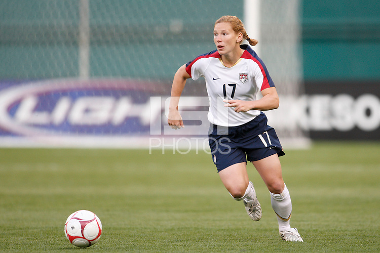 United States defender Lori Chalupny (17). The women's national team of the United States defeated Canada 6-0 during an international friendly at Robert F. Kennedy Memorial Stadium in Washington, D. C., on May 10, 2008.