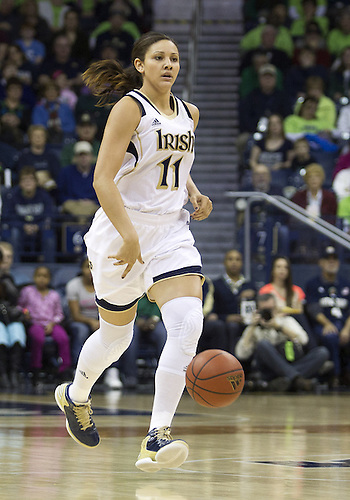 January 26, 2013:  Notre Dame forward Natalie Achonwa (11) dribbles the ball during NCAA Basketball game action between the Notre Dame Fighting Irish and the Providence Friars at Purcell Pavilion at the Joyce Center in South Bend, Indiana.  Notre Dame defeated Providence 89-44.