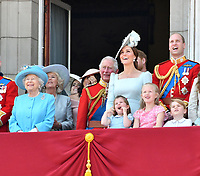 Camilla Duchess of Cornwall, Queen Elizabeth II, Prince Charles, Meghan Duchess of Sussex, Prince Harry, Catherine Duchess of Cambridge, Prince William, Princess Charlotte, Prince George on the balcony at Buckingham Palace<br /> Celebration marking The Queen's official birthday, Trooping The Colour, The Queen's official birthday, Buckingham Palace, London, England UK on June 09, 2018.<br /> CAP/JOR<br /> &copy;JOR/Capital Pictures