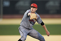 Louisville Cardinals relief pitcher Evan Webster (27) in action against the Wake Forest Demon Deacons at David F. Couch Ballpark on March 7, 2020 in  Winston-Salem, North Carolina. The Demon Deacons defeated the Cardinals 3-2. (Brian Westerholt/Four Seam Images)