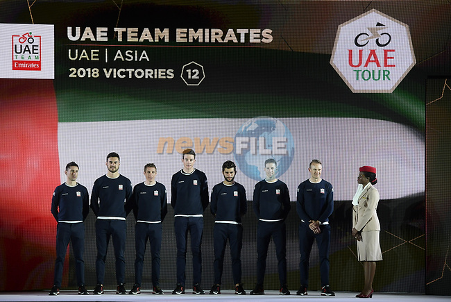 UAE Team Emitrates on stage at the inaugural UAE Tour 2019 opening ceremony and team presentation held in the Louvre Abu Dhabi, United Arab Emirates. 23rd February 2019.<br /> Picture: LaPresse/Fabio Ferrari | Cyclefile<br /> <br /> <br /> All photos usage must carry mandatory copyright credit (© Cyclefile | LaPresse/Fabio Ferrari)