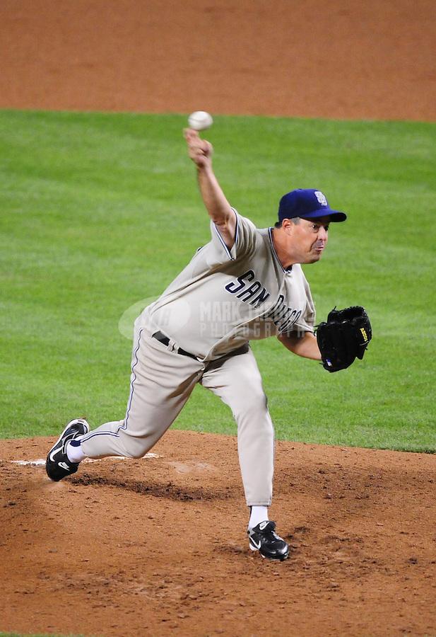 Apr. 18, 2008; Phoenix, AZ, USA; San Diego Padres pitcher Greg Maddux against the Arizona Diamondbacks at Chase Field. Mandatory Credit: Mark J. Rebilas-