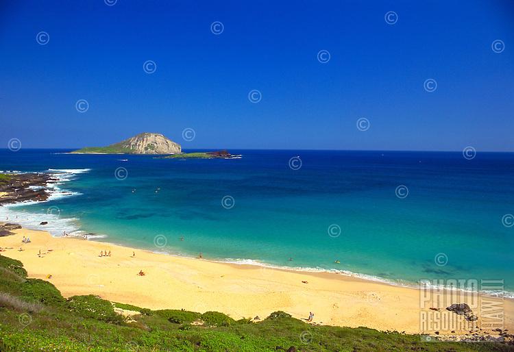 Makapuu beach with Rabbit Island, Oahu