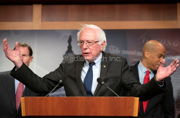 United States Senator Bernie Sanders (Independent of Vermont) answers a reporter's question at a press conference in the US Capitol in Washington, DC announcing a Democratic package of three bills to be introduced in the US Senate and US House to control prescription drug prices on Thursday, January 10, 2019.<br /> Credit: Ron Sachs / CNP /MediaPunch