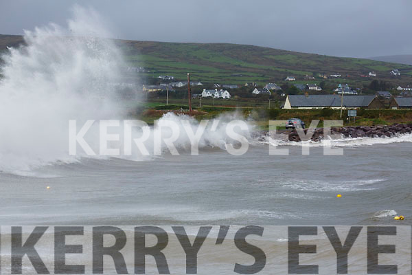 Waves crash the shore at Reen Pier, Ballinskelligs as Ophelia unleashes her worst.