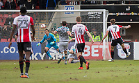 Harry Pell of Cheltenham Town (far right) scores his side's second goal during the Sky Bet League 2 match between Cheltenham Town and Grimsby Town at the The LCI Rail Stadium,  Cheltenham, England on 17 April 2017. Photo by PRiME Media Images / Mark Hawkins.