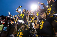 Hawgs Illustrated/BEN GOFF <br /> Missouri celebrates with the battle line trophy after defeating Arkansas Saturday, Nov. 29, 2019, at War Memorial Stadium in Little Rock.