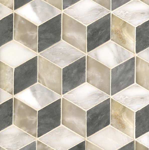 Euclid Grand, a hand-cut mosaic shown in polished Cream Onyx, honed Allure, and honed Calacatta Tia, is part of the Illusions® collection by New Ravenna.