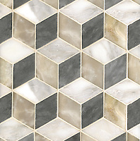 Euclid, a hand-cut mosaic shown in polished Cream Onyx, honed Allure, and honed Calacatta Tia, is part of the Illusions™ Collection by Sara Baldwin Designs for New Ravenna.
