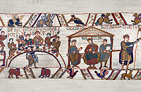 11th Century Medieval Bayeux Tapestry - Scene 43 & 44 -  William at a banquet with his Barons and Bishop Odon.