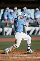 Zack Gahagan (10) of the North Carolina Tar Heels follows through on his swing against the Kentucky Wildcats at Boshmer Stadium on February 17, 2017 in Chapel Hill, North Carolina.  The Tar Heels defeated the Wildcats 3-1.  (Brian Westerholt/Four Seam Images)