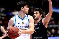 GRONINGEN - Basketbal, Donar - Apollo , Martiniplaza, Dutch Basketbal League seizoen 2019-2020, 18-1-2020,  Donar speler Matt McCarthy met Apollo speler Noam Hasson