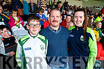 Rory, Brendan and Aoife Mahony, Kilflynn Kerry supporters for the double header in Portlaoise on Saturday.