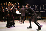 "Alyson Cambridge and Tony Vincent performing during the Performance Presentation of ""Rocktopia"" at SIR Studios on January 16, 2018 in New York City."