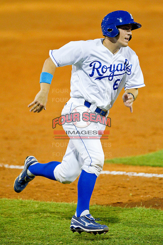 Kenny Swab #61 of the Burlington Royals rounds third base against the Burlington Royals at Burlington Athletic Park on July 9, 2011 in Burlington, North Carolina.  The Royals defeated the White Sox 3-2.   (Brian Westerholt / Four Seam Images)