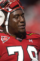 "21 October 2006:  Maryland 6' 9"" 350 lb. tackle Jared Gaither (78).  The Maryland Terapins defeated the N.C. State Wolfpack 26-20 October 21, 2006 at Chevy Chase Bank Field at Byrd Stadium in College Park, MD.."