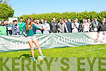 Spot Kick Millionaire Event : Model Aoife Hannon, Listowel taking the first penalty at the Kerry launch of the Spot Kick Millionaire fundraising event at Ballydonghue GAA club on Sunday afternoon last.