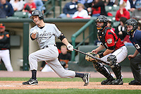 June 1st 2008:  Shortstop Nick Green (5) of the Scranton Wilkes-Barre Yankees, Class-AAA affiliate of the New York Yankees, at bat in front of catcher Ryan Jorgensen and umpire Brian Kennedy during a game at Frontier Field in Rochester, NY.  Photo By Mike Janes/Four Seam Images
