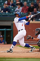 Chattanooga Lookouts outfielder Adam Brett Walker II (8) at bat during a game against the Jacksonville Suns on April 30, 2015 at AT&T Field in Chattanooga, Tennessee.  Jacksonville defeated Chattanooga 6-4.  (Mike Janes/Four Seam Images)
