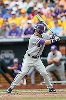 TCU Horned Frogs outfielder Nolan Brown (6) at bat against the LSU Tigers in the NCAA College World Series on June 14, 2015 at TD Ameritrade Park in Omaha, Nebraska. TCU defeated LSU 10-3. (Andrew Woolley/Four Seam Images)