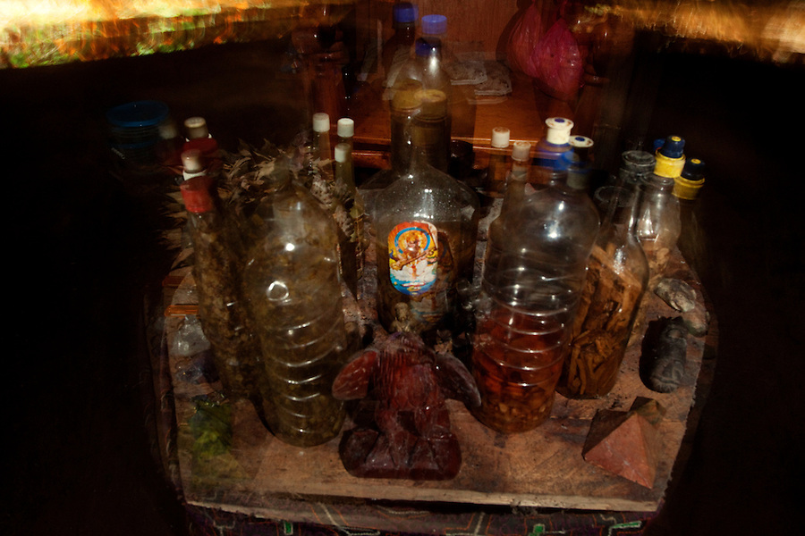 Amazon Jungle, an hour south of Iquitos, Peru, September 14, 2013 -  A view of the medicines of shaman Percy Garcia Lozano at Dios Ayahuasca Sanaciones (DAS) Ayahuasca Healing Center. <br /> <br /> Ayahuasca is a hallucinogenic decotion made from the Banisteriopsis caapi vine, also known as Ayuhuasca or Caapi. The extracted liquid is mixed with leaves of DMT  (dimethyltryptamine) - containing plant, such as Psychotria viridis, known locally as chacrona. It has been reported that some effects can be had from consuming the caapi vine alone, but that DMT-containing plants (such as Psychotria) remain inactive when drunk as a brew without a source of monoamine oxidase inhibitor (MAOI) such as B. caapi. How indigenous peoples discovered the synergistic properties of the plants used in the ayahuasca brew remains a mystery, though indigenous Amazonian people say they received the instructions directly from plants and plant spirits. <br /> <br /> People who have tried ayahuasca say they have undergone spriritual revelations, including giving them greater understanding as to the meaning of life and their purpose on Earth. After purging (vomiting that occurs shortly after consuming the ayahuasca that is believed to be a purging of negative energy) many claim to be visited by the plants goddess who leads the participant on their discovery.