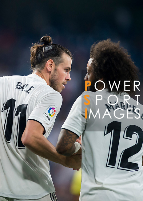 Gareth Bale of Real Madrid celebrates with teammates during the La Liga 2018-19 match between Real Madrid and Getafe CF at Estadio Santiago Bernabeu on August 19 2018 in Madrid, Spain. Photo by Diego Souto / Power Sport Images