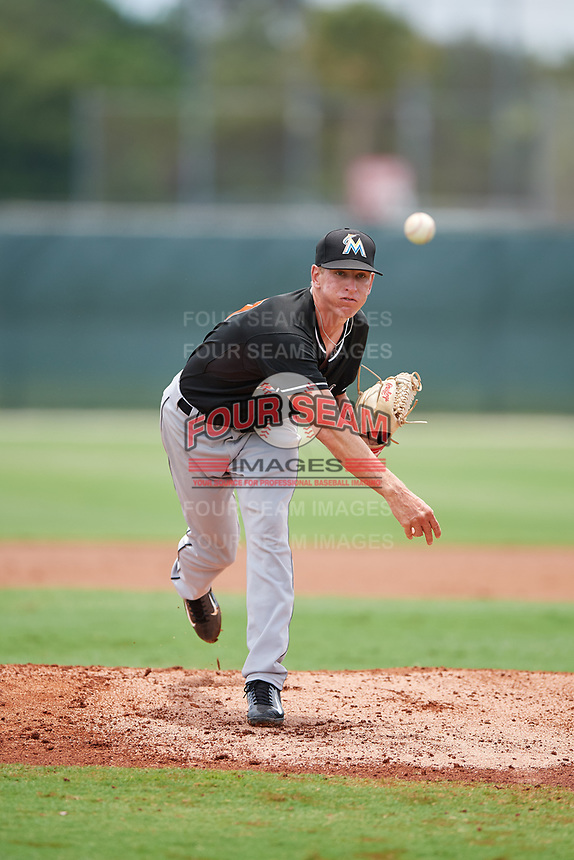 GCL Marlins relief pitcher Gavin Fritz (37) delivers a pitch during the second game of a doubleheader against the GCL Nationals on July 23, 2017 at Roger Dean Stadium Complex in Jupiter, Florida.  GCL Nationals defeated the GCL Marlins 1-0.  (Mike Janes/Four Seam Images)