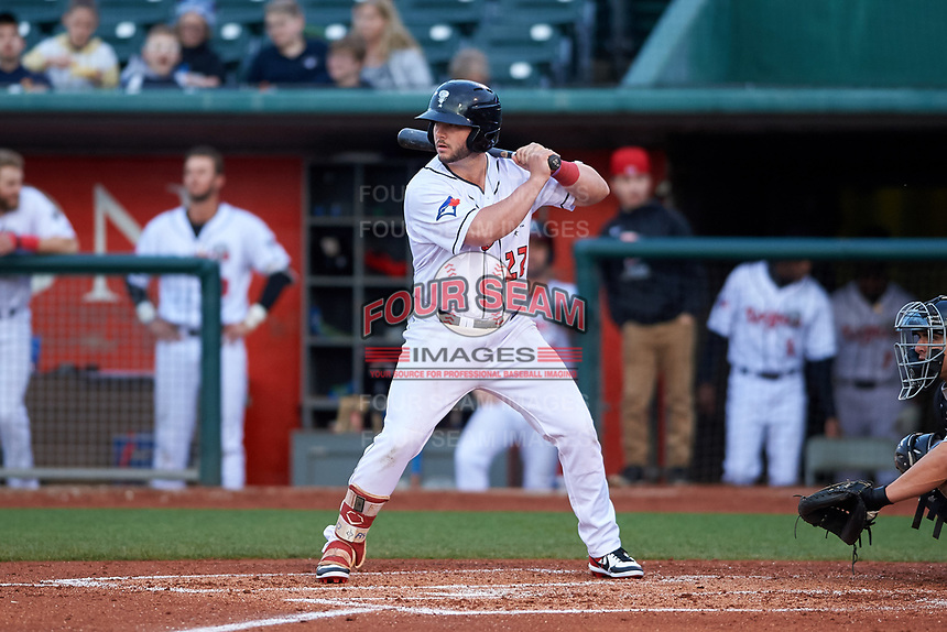 Lansing Lugnuts designated hitter Ryan Gold (22) during a Midwest League game against the Wisconsin Timber Rattlers at Cooley Law School Stadium on May 1, 2019 in Lansing, Michigan. Wisconsin defeated Lansing 2-1 in the second game of a doubleheader. (Zachary Lucy/Four Seam Images)