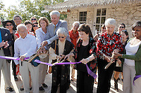 San Antonio Mayor Emeritus and president of the San Antonio Parks Foundation Lila Cockrell cuts a ribbon with Mabel Jingu Enkoji to celebrate the grand re-opening of the Jingu House, Saturday, Oct. 22, 2011, at the Japanese Tea Garden in San Antonio, Texas, USA. (Darren Abate/pressphotointl.com)