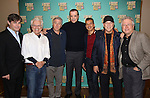 """Glenn Slater, Jerry Zaks, Robert De Niro, Chazz Palminteri, Sergio Trujillo, Tommy Mottola and Alan Menken during the photocell for """"A Bronx Tale - The New Musical""""  at the New 42nd Street Studios on October 21, 2016 in New York City."""