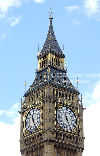 "London, GBR - August 7, 2005 -- The Clock Tower of the Palace of Westminster, popularly known as ""Big Ben"".  This view is from a ferry on the River Thames..Credit: Ron Sachs / CNP"