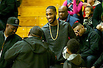 Portland Trail Blazers' Will Barton meet with fans during the Jefferson Democrats-Madison Senators game at Jefferson High School.<br /> Photo by Jaime Valdez