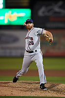 Lancaster JetHawks relief pitcher Heath Holder (26) delivers a pitch during a California League game against the Inland Empire 66ers at San Manuel Stadium on May 18, 2018 in San Bernardino, California. Lancaster defeated Inland Empire 5-3. (Zachary Lucy/Four Seam Images)
