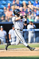 Kannapolis Intimidators center fielder Luis Gonzalez (10) checks his swing during a game against the Asheville Tourists at McCormick Field on May 12, 2018 in Asheville, North Carolina. The Intimidators defeated the Tourists 11-8. (Tony Farlow/Four Seam Images)