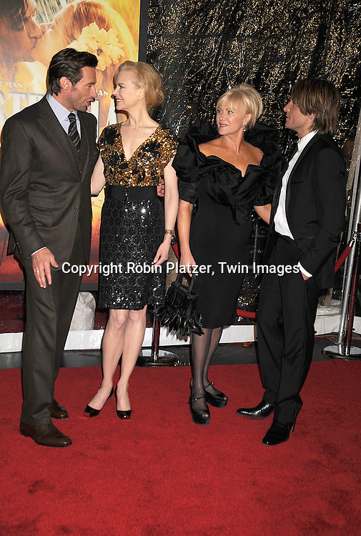 """Hugh Jackman and Nicole Kidman and spouses..posing for photographers at The New York Movie Premiere of """"Australia"""" on November 24, 2008 at The Ziegfeld Theatre. ....Robin Platzer, Twin Images....212-935-0770"""