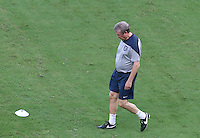 England Manager Roy Hodgson inspects the Pitch