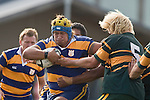 J. Latu tries to push of Jamie Chipman. CMRFU Counties Power Premier Club Rugby game between Patumahoe & Pukekohe played at Patumahoe on April 12th, 2008..The halftime score was 10 all with Pukekohe going on to win 23 - 18.