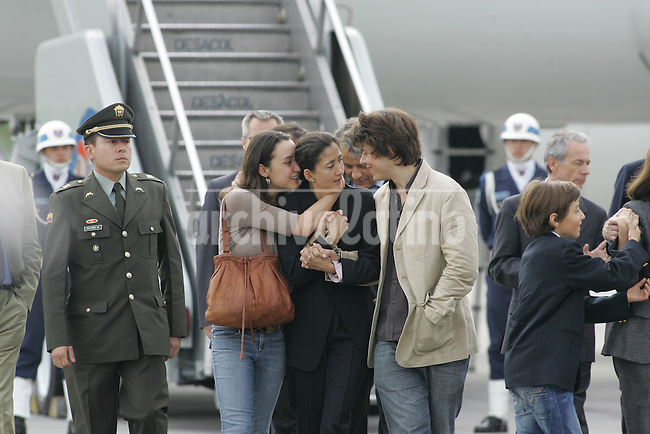 Former hostage Ingrid Betancourt with her daughter Melanie and her son, Lorenzo, upon their arrival to Bogota Catam military air base.Ingrid Betancourt and other 14 hostages were rescued by special units of Colombian Army, that stormed a base of leftist guerrilla FARC in the south of the country. Betancourt was kidnapped when running for president in 2002.