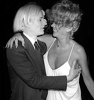 1977 FILE PHOTO<br /> New York, NY<br /> Andy Warhol Monique Van Vooren <br /> at Studio 54<br /> Photo by Adam Scull-PHOTOlink.net