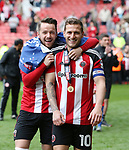 Sheffield United's Mark McNulty and Billy Sharp celebrate during the League One match at Bramall Lane, Sheffield. Picture date: April 30th, 2017. Pic David Klein/Sportimage