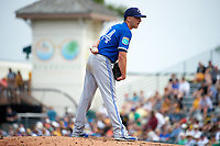 Toronto Blue Jays pitcher Pat Venditte (44) looks in for the sign during a Spring Training game against the Pittsburgh Pirates on March 3, 2016 at McKechnie Field in Bradenton, Florida.  Toronto defeated Pittsburgh 10-8.  (Mike Janes/Four Seam Images)