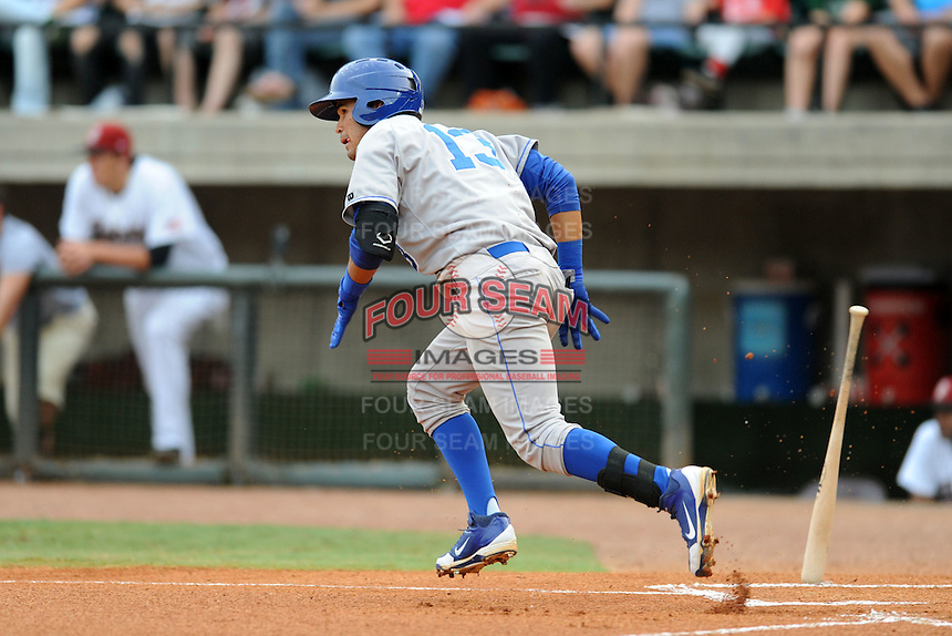 Burlington Royals shortstop Humberto Arteaga #13 runs to first during  a game against the Greenville Astros at Pioneer Park on August 17, 2012 in Greenville, Tennessee. The Astros defeated the Royals 5-1. (Tony Farlow/Four Seam Images).