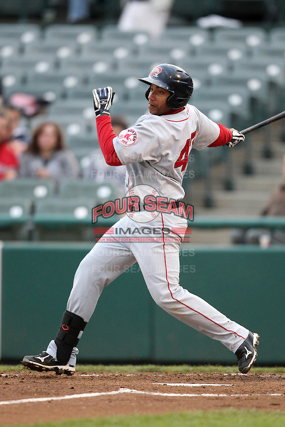 Portland Sea Dogs first baseman Jorge Padron #47 at bat during a game against the Trenton Thunder at Waterfront Park on May 4, 2011 in Trenton, New Jersey.  Trenton defeated Portland by the score of 7-1.  Photo By Mike Janes/Four Seam Images
