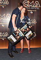 11 June 2016 - Nashville, Tennessee - Chris Young and Cassadee Pope. 2016 CMA Music Festival Nightly Press Conference held at Nissan Stadium. Photo Credit: AdMedia